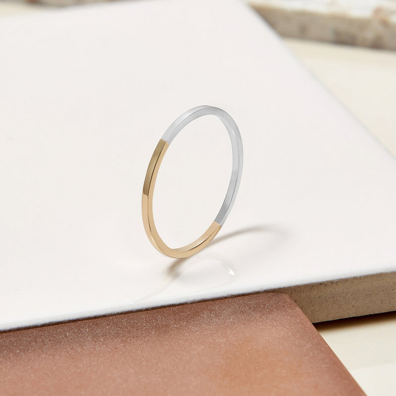Two-tone Ultra Skinny Square Stacking Ring - 9k Yellow Gold & Silver - Myia Bonner Jewellery