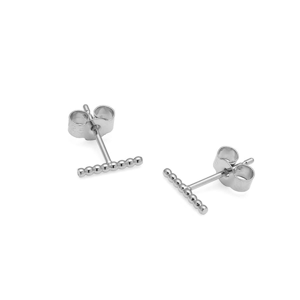 Sphere Bar Stud Earrings - Silver - Myia Bonner Jewellery