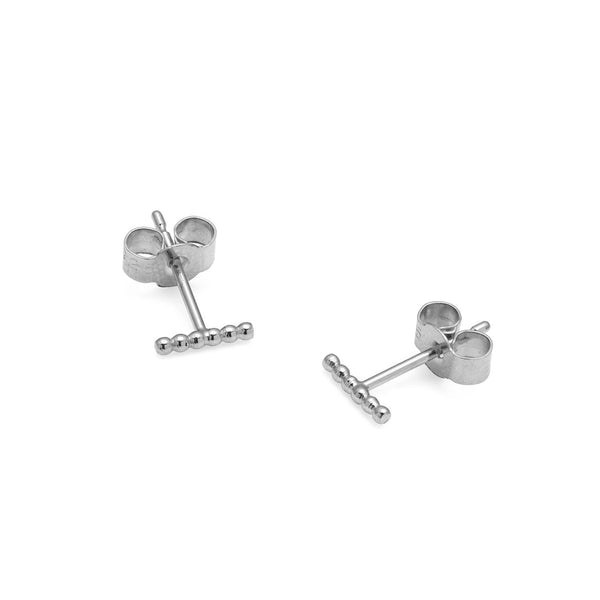 Mini Ball Bar Stud Earrings - Silver - Myia Bonner Jewellery