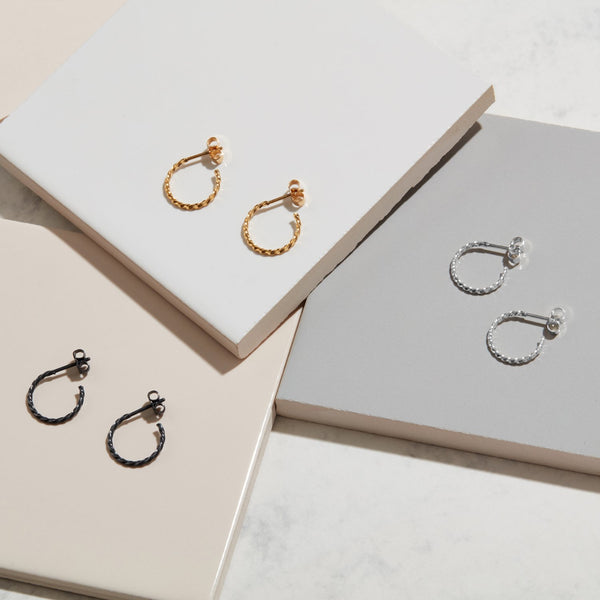 Mini Twist Hoop Earrings - Oxidised Silver - Myia Bonner Jewellery