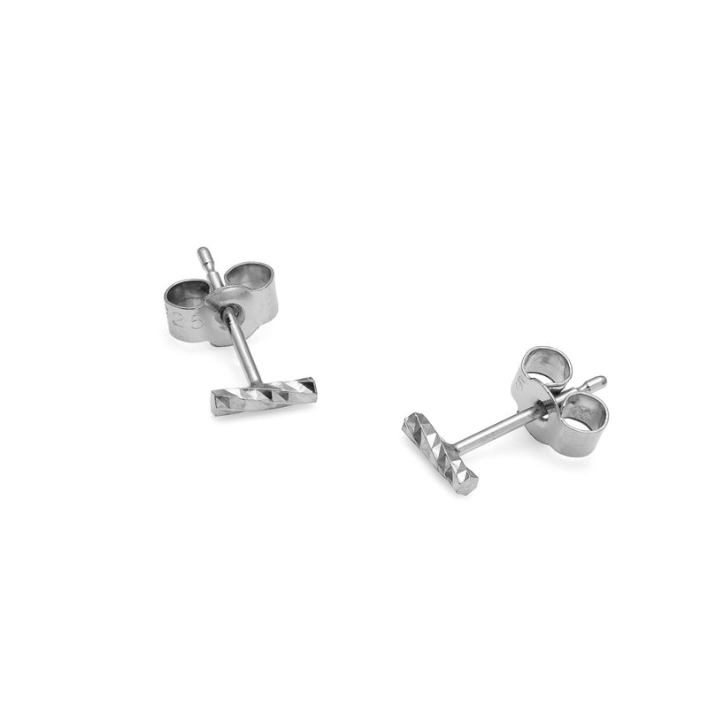 Mini Faceted Bar Stud Earrings - Silver - Myia Bonner Jewellery