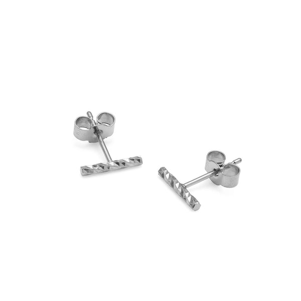 Diamond Bar Stud Earrings - Silver - Myia Bonner Jewellery