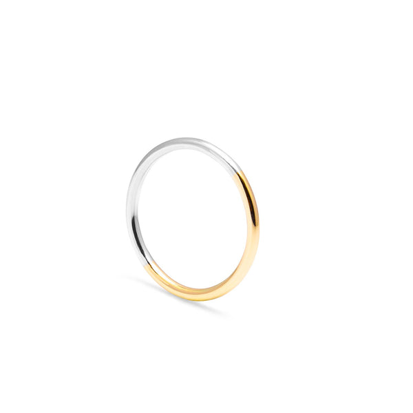 Two-tone Round Ring - 9k Yellow Gold & Silver - Myia Bonner Jewellery