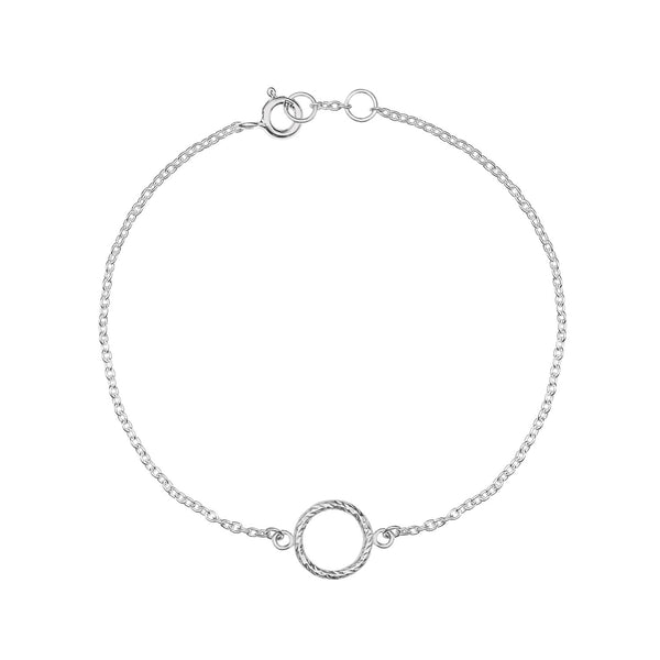 Mini Faceted Diamond Circle Bracelet - Silver - Myia Bonner Jewellery
