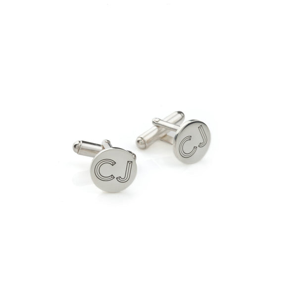 Personalised Facett Double Initial Cufflinks - Silver - Myia Bonner Jewellery