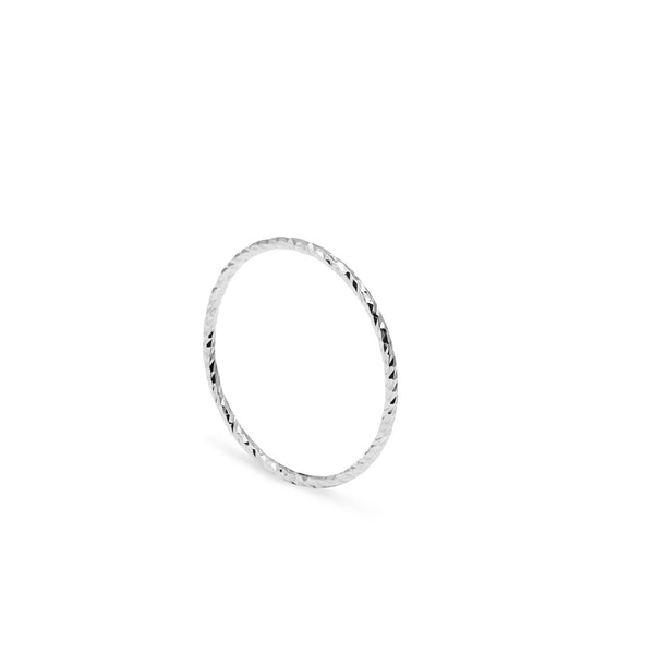 Ultra Skinny Diamond Stacking Ring - Silver - Myia Bonner Jewellery