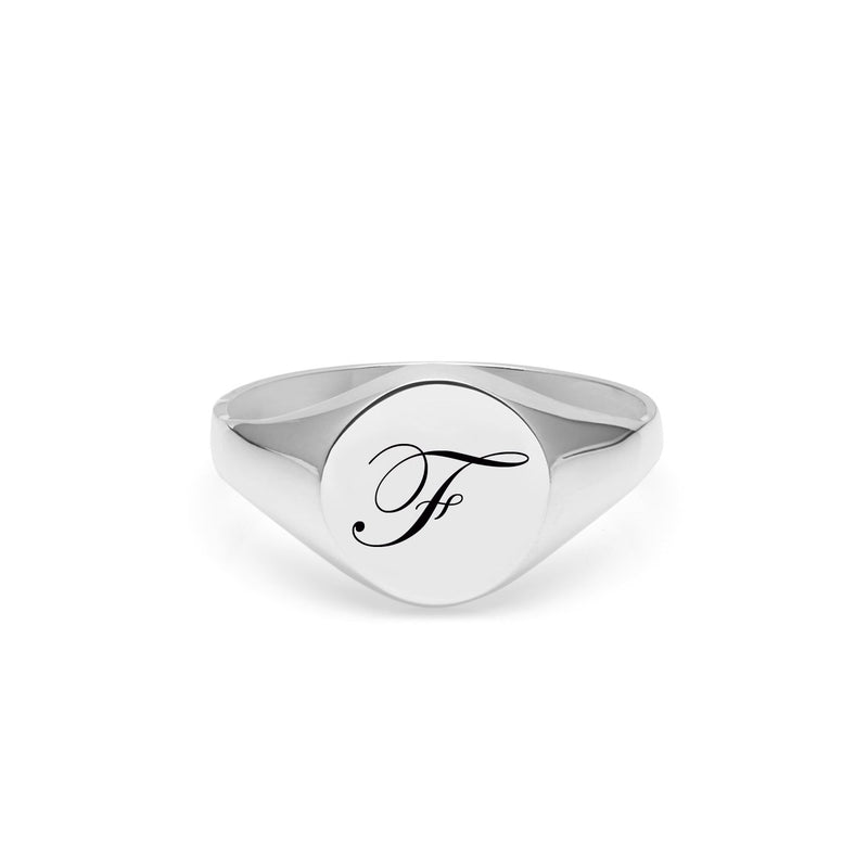 Initial F Edwardian Signet Ring - Silver - Myia Bonner Jewellery