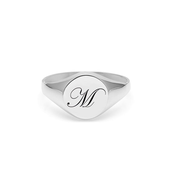 Initial M Edwardian Signet Ring - Silver - Myia Bonner Jewellery