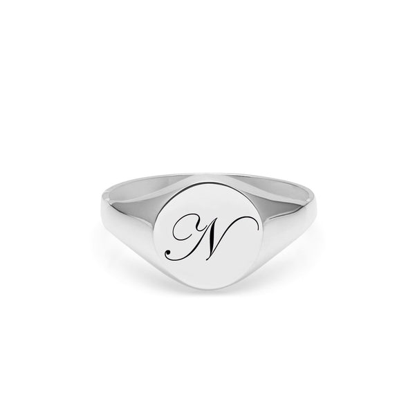 Initial N Edwardian Signet Ring - Silver - Myia Bonner Jewellery