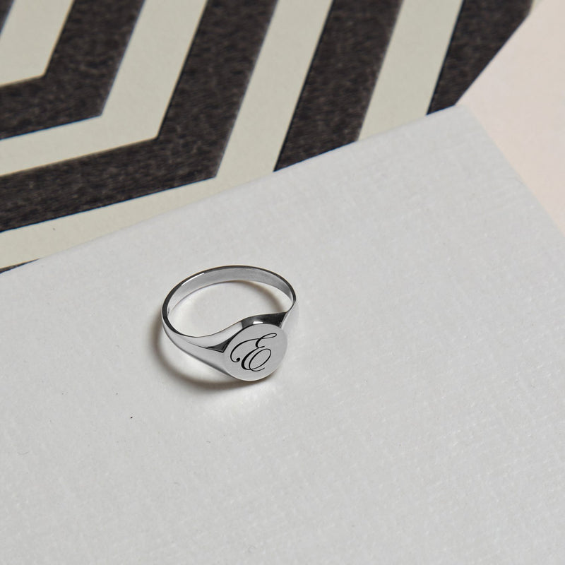 Initial P Edwardian Signet Ring - Silver - Myia Bonner Jewellery