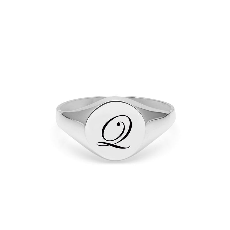 Initial Q Edwardian Signet Ring - Silver - Myia Bonner Jewellery