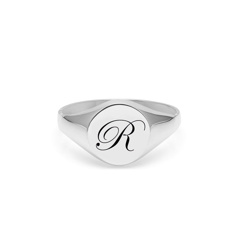 Initial R Edwardian Signet Ring - Silver - Myia Bonner Jewellery
