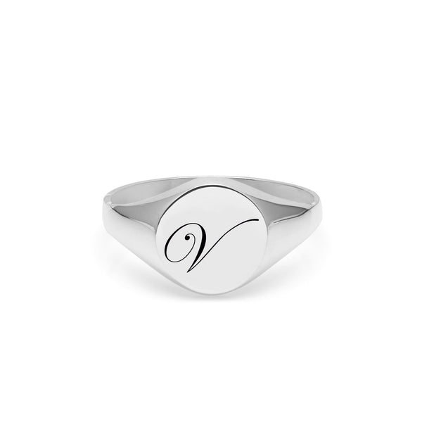 Initial V Edwardian Signet Ring - Silver - Myia Bonner Jewellery