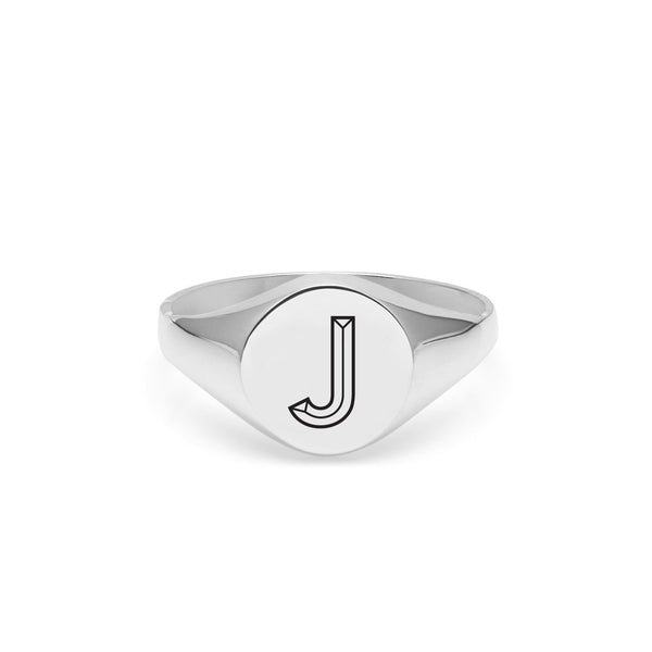 Facett Initial J Round Signet Ring - Silver - Myia Bonner Jewellery