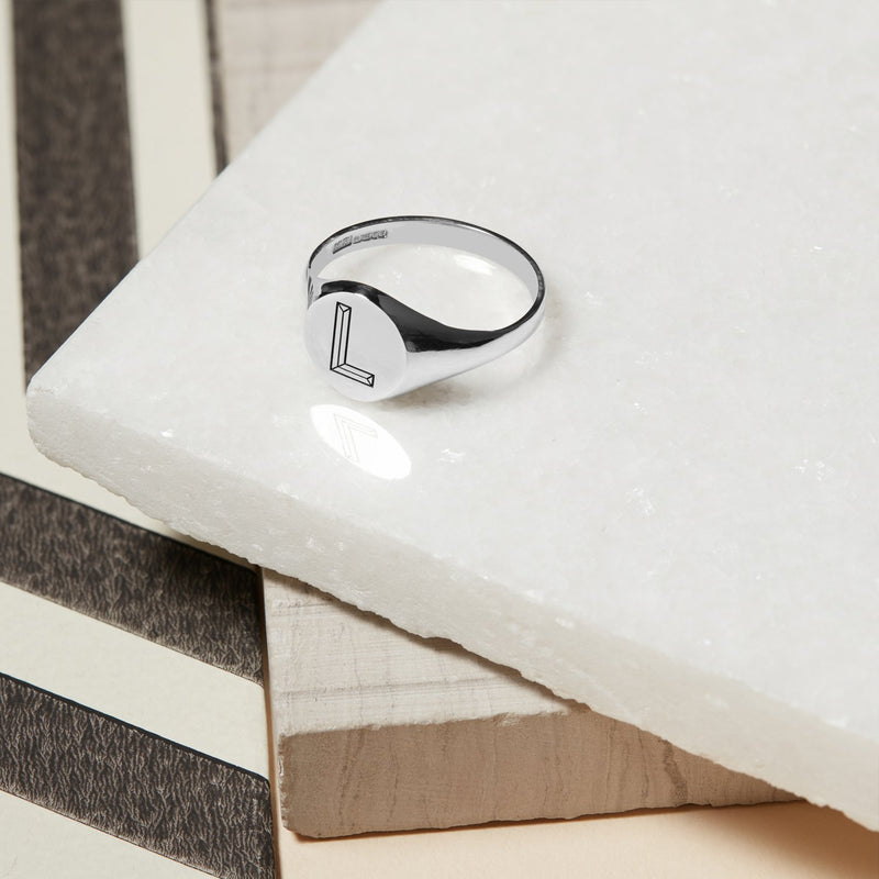 Facett Initial P Round Signet Ring - Silver - Myia Bonner Jewellery