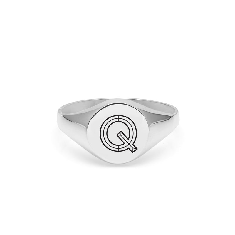 Facett Initial Q Round Signet Ring - Silver - Myia Bonner Jewellery