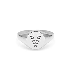 Facett Initial V Round Signet Ring - Silver - Myia Bonner Jewellery