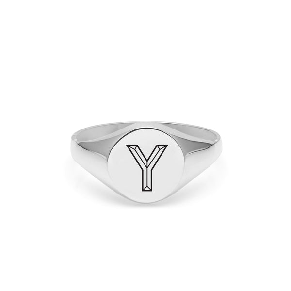 Facett Initial Y Round Signet Ring - Silver - Myia Bonner Jewellery