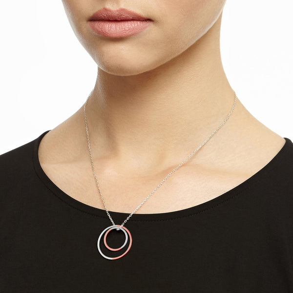 Two-tone Double Circle Necklace - 9k Rose Gold & Silver - Myia Bonner Jewellery