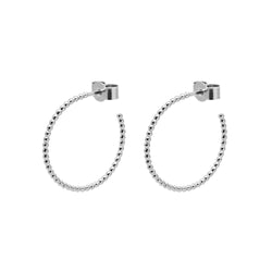 Medium Sphere Hoop Earrings - Silver - Myia Bonner Jewellery