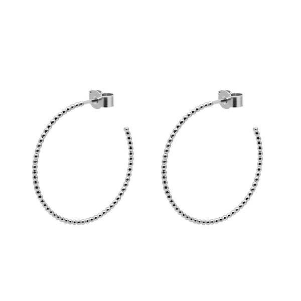 Large Sphere Hoop Earrings - Silver - Myia Bonner Jewellery