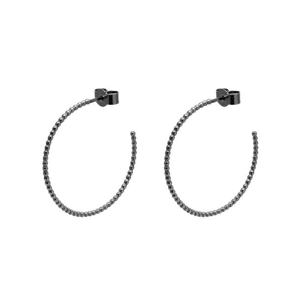 Large Sphere Hoop Earrings - Oxidised Silver - Myia Bonner Jewellery