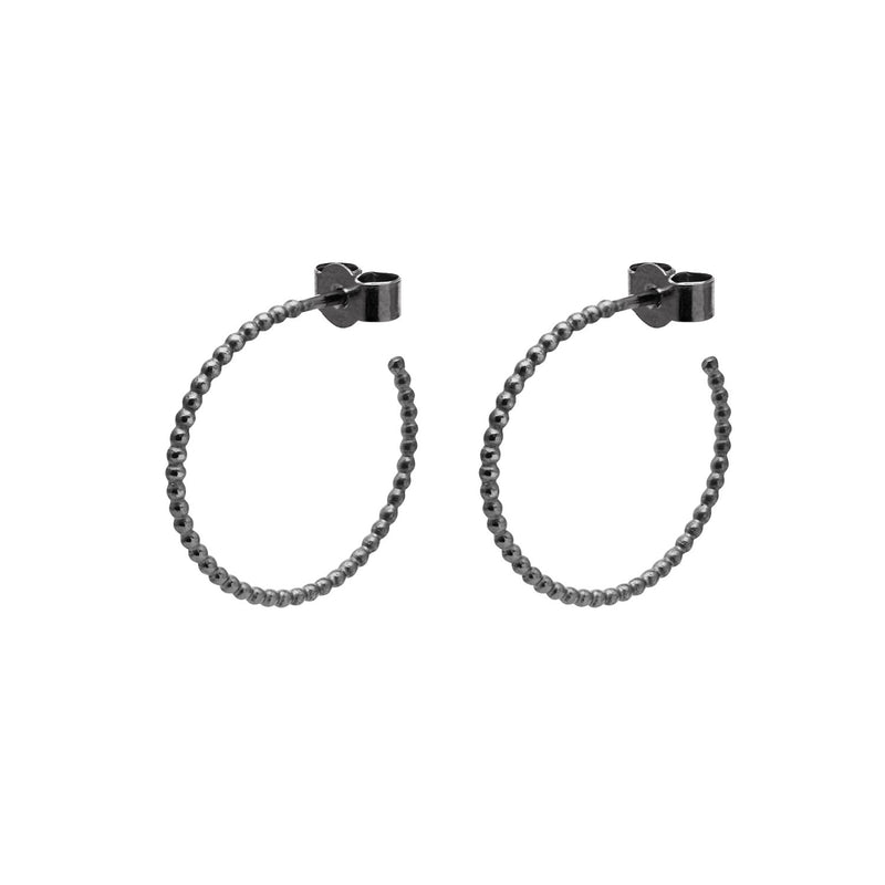 Medium Sphere Hoop Earrings - Oxidised Silver - Myia Bonner Jewellery