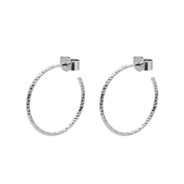 Medium Diamond Hoop Earrings - Silver - Myia Bonner Jewellery
