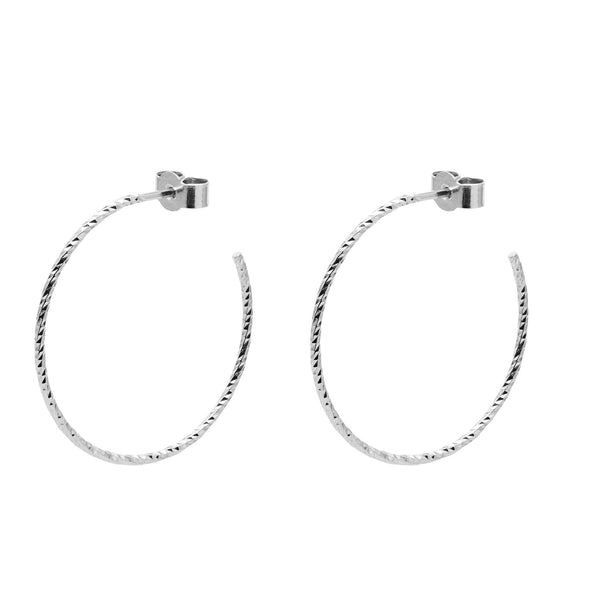 Large Diamond Hoop Earrings - Silver - Myia Bonner Jewellery