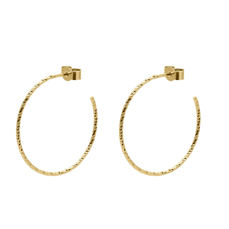 Large Diamond Hoop Earrings - Gold - Myia Bonner Jewellery