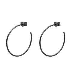 Large Diamond Hoop Earrings - Oxidised Silver - Myia Bonner Jewellery