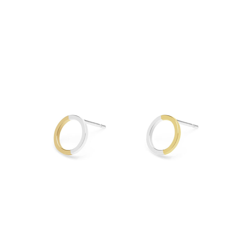 Two-tone Mini Circle Stud Earrings - 9k Yellow Gold & Silver - Myia Bonner Jewellery