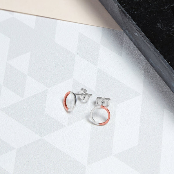 Two-tone Mini Circle Stud Earrings - 9k Rose Gold & Silver - Myia Bonner Jewellery