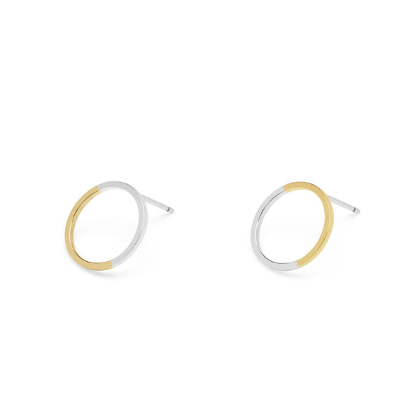 Two-tone Circle Stud Earrings - 9k Yellow Gold & Silver - Myia Bonner Jewellery
