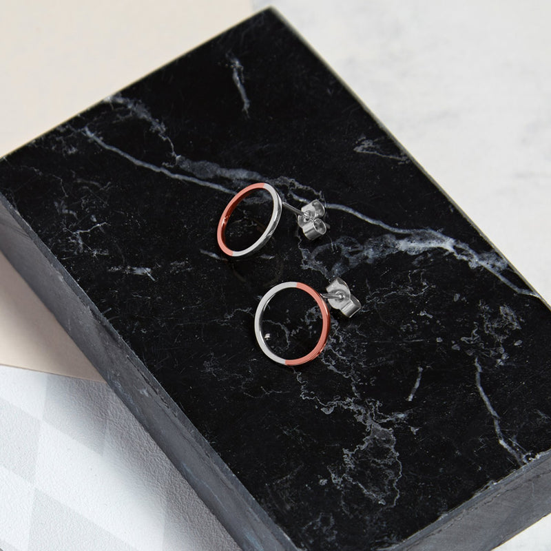 Two-tone Circle Stud Earrings - 9k Rose Gold & Silver - Myia Bonner Jewellery