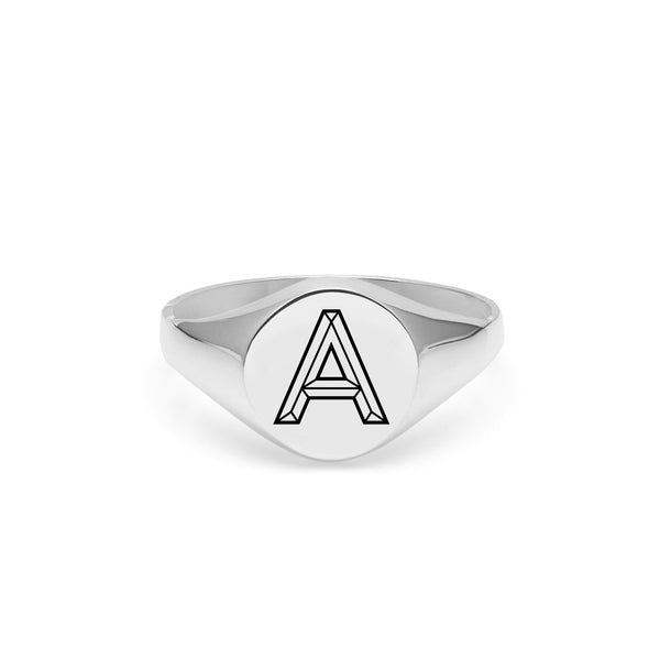 Facett Initial A Round Signet Ring - Silver - Myia Bonner Jewellery