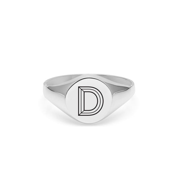Facett Initial D Round Signet Ring - Silver - Myia Bonner Jewellery