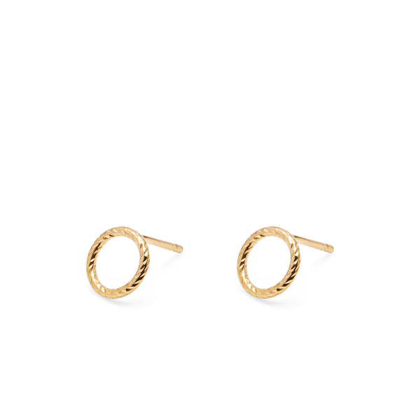 Mini Circle Faceted Stud Earrings - Gold - Myia Bonner Jewellery