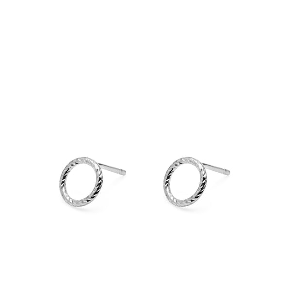 Mini Circle Faceted Stud Earrings - Silver - Myia Bonner Jewellery