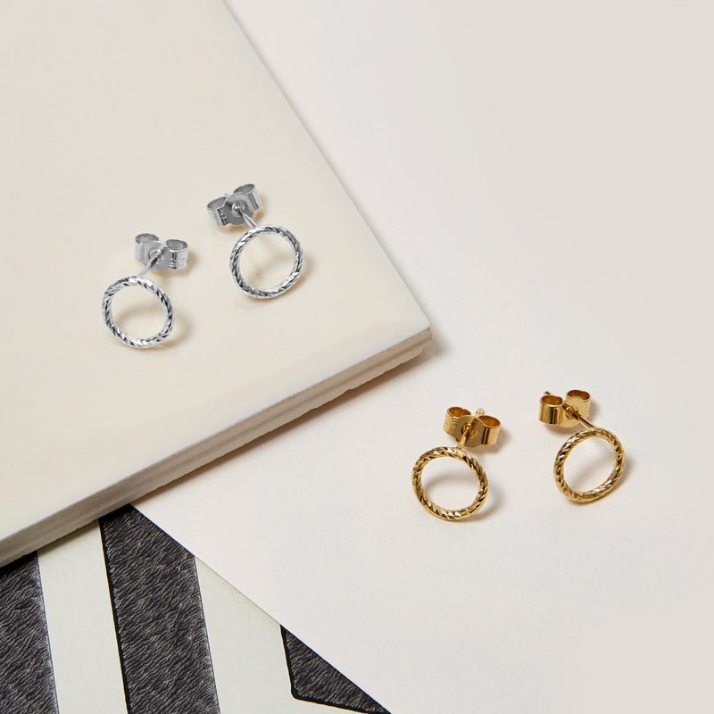 Faceted Circle Stud Earrings - Gold - Myia Bonner Jewellery