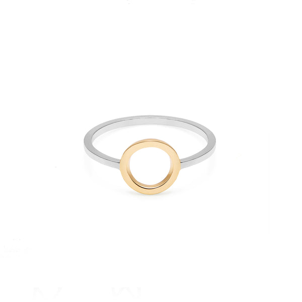 Two-Tone Circle Ring - 9k Yellow Gold & Silver