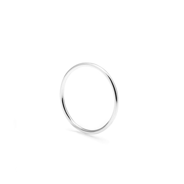 Skinny Round Stacking Ring - 9k White Gold