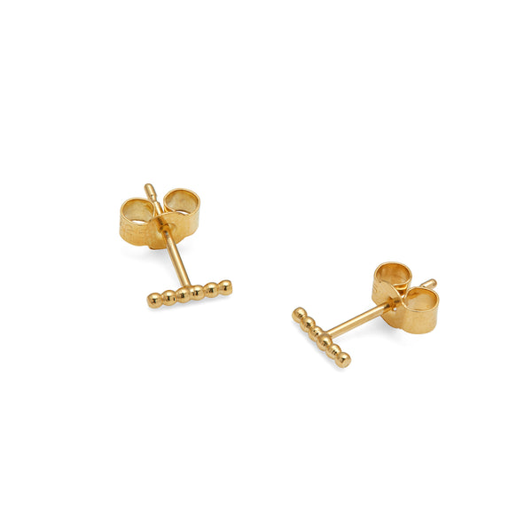 Mini Sphere Bar Stud Earrings - 9k Yellow Gold - Myia Bonner Jewellery