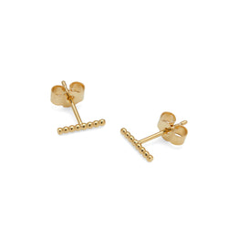 Sphere Bar Stud Earrings - 9k Yellow Gold - Myia Bonner Jewellery