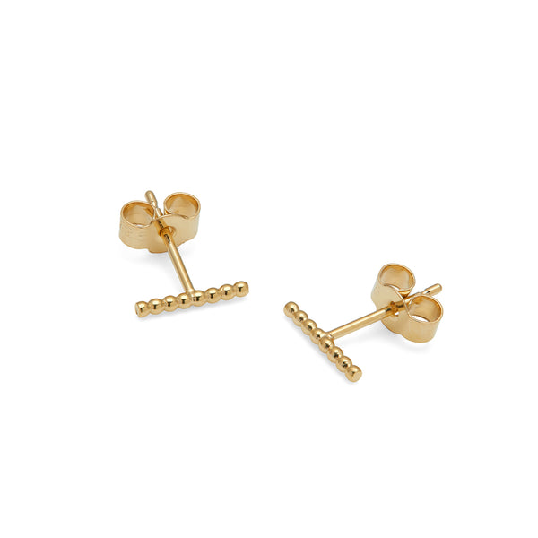 Ball Bar Stud Earrings - 9k Yellow Gold - Myia Bonner Jewellery