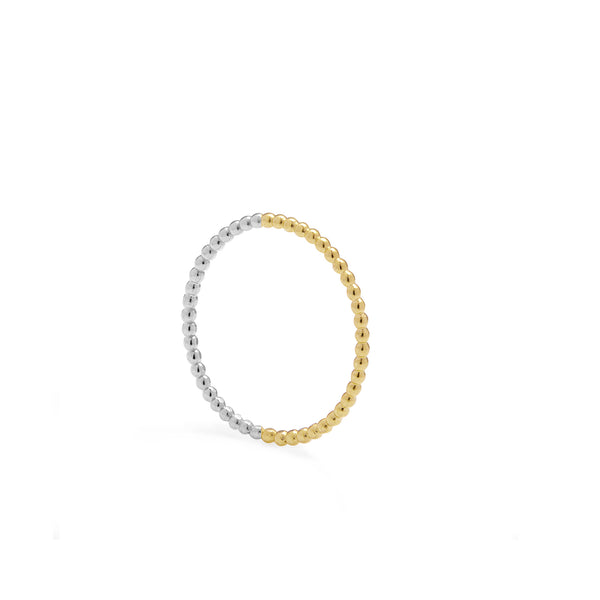 Two-tone Skinny Sphere Stacking Ring - 9k Yellow Gold & Silver