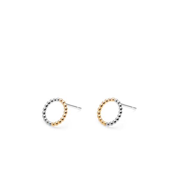Two-tone Mini Circle Sphere Stud Earrings - 9k Yellow Gold & Silver