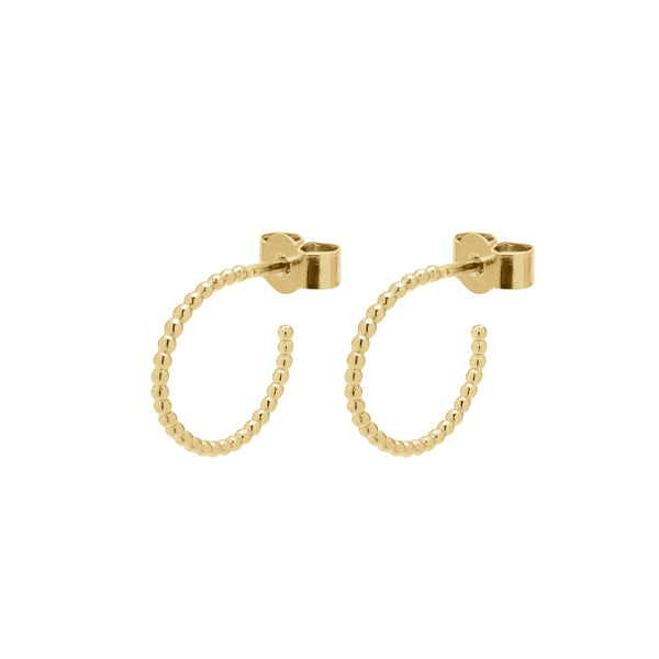 Mini Sphere Hoop Earrings - 9k Yellow Gold - Myia Bonner Jewellery