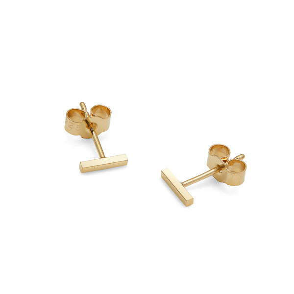Mini Bar Stud Earrings - 9k Yellow Gold - Myia Bonner Jewellery