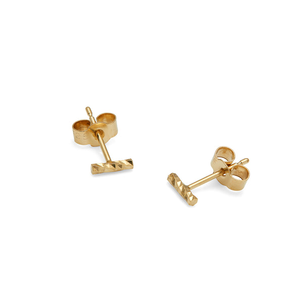 Mini Diamond Bar Stud Earrings - Gold - Myia Bonner Jewellery